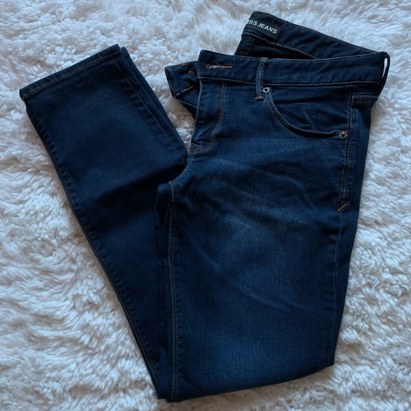 Express 8S Super Skinny Lowrise Dark Wash Jeans